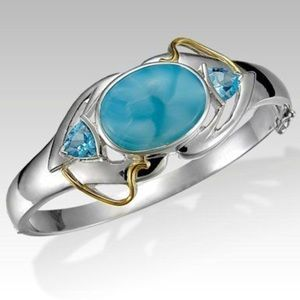 MarahLago Larimar Bangle, 18k Gold & Blue Topaz